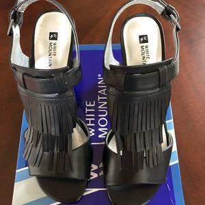 White Mountain Fringe Sandals - Size 10